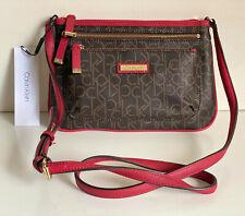 NEW! CALVIN KLEIN CK BROWN KHAKI RED SIGNATURE CROSSBODY SLING BAG PURSE $108