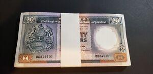 HONG KONG HSBC $20 DOLLARS UNC 100 PCS BANKNOTES CONSECUTIVE NUMBER P-192c 1989