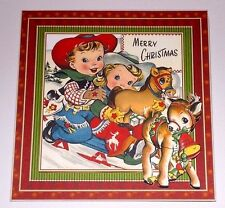 Handmade Greeting Card 3D Christmas Vintage Style With Cowboy And Cowgirl
