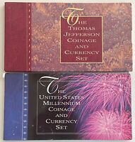 U.S. MILLENIUM COINAGE & CURRENCY SET + THOMAS JEFFERSON COINAGE & CURRENCY SET