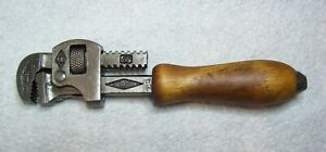 vintage 6'' Stillson pipe wrench with wood handle, Walworth Mfg. Co. Boston, USA