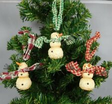 Set of 3 different mini snowman ornaments with wire arms-New by Honey & Me#27045