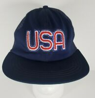 VTG Rare United Hatters And Millinary USA Patch Snapback Blue Trucker Hat Cap