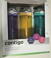 3x Contigo Water Bottle Drink Auto Spout Leak Spill Proof Straw 709mL Outdoor