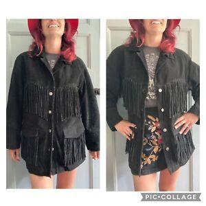 Vintage Black Suede Fringe Tassel Coat Jacket Boho Festival Rock Western Medium