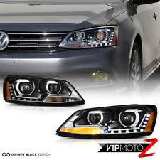 {DUAL PROJECTOR} 2011-2018 Volkswagen Jetta LED DRL Black Headlights Lamps Pair