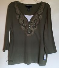 Karen Scott NEW V-Neck Layered Look Top Olive Embroidered Stretch Knit XL
