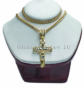 """10k Yellow Gold Jesus Cross Charm Pendant with 26"""" Miami Cuban Chain Necklace"""