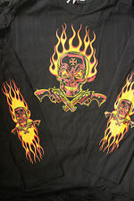 Flame Skull, Long (printed) Sleeve  T Shirt - Large by D Vincente