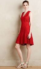 New Anthropologie San Soni Red Eyelet Flounced dress Career Cocktail S 6 8 $178