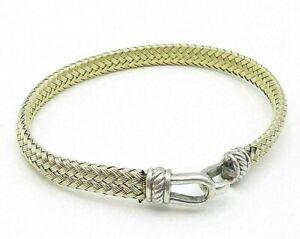 925 Sterling Silver - Two Tone Basket Weave Style Hooked Bangle Bracelet - B4250