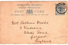 1887 Strait Settlements Singapore Postal Card to Gosport England - HMS Cleopatra