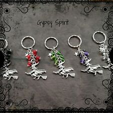Funky witch on a broom keyring, various colours, pagan, Wiccan, key ring witches