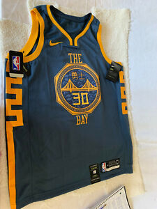 Authentic Curry Golden State Warriors Men's N Navy The Bay Heritage Jersey L