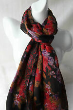 Multi-Coloured Floral Pattern Scarf (Reversible)