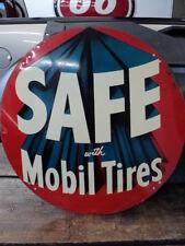 Original Mobil Tires Metal Tire Insert Sign - Gas Oil Service Station Display