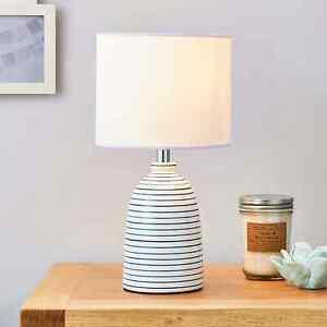 Serene Simple White and Blue Table Lamp Ceramic Living Room Bedside Light NEW