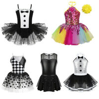 Girls Modern Jazz Ballet Dance Costume Kids Sparkly Leotard Tutu Dress Dancewear