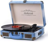 Vinyl Record Player, dodocool Vintage Turntable 3-Speed with Blue Jean-Blue
