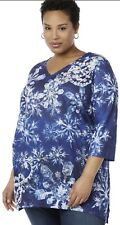 1x Catherines Womens Plus Size Blue Metallic Sparkling Snowflake Top