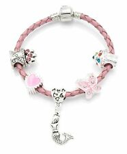 'Mermaid Wishes' Pink Leather Birthday Charm Bracelet for Girls With Gift Pouch