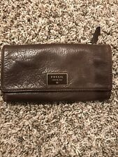 Womens Brown Mid Size Leather FOSSIL Wallet Snap Closure