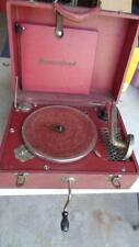 Vintage RED Homestead Portable Crank Record Player Victrola Phonograph Working