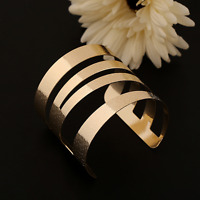 Fashion Women Gold Plated Stainless Steel Open Bangle Cuff Wide Big Bracelet