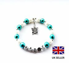 PERSONALISED TEAL BUTTERFLY CHARM BRACELET BIRTHDAY/CHRISTENING/WEDDING–ANY NAME