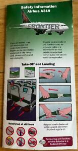 VINTAGE 2010 FRONTIER AIRLINES SAFETY INORMATION CARD AIRBUS A319