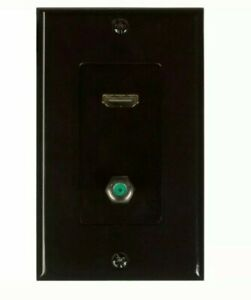 HDMI pigtail coax wall plate-black