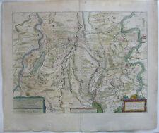 Fossa Eugeniana altkolor Orig Kupferstichkarte Mercator Hondius 1627 NRW