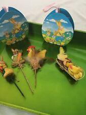 Ostern Deko 6 teiliges Set Huhn Hase Osterhase Kücken Eier Tasche Topf Stecker