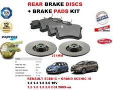 für Renault Scenic Grand Scenic 274mm Bremsscheiben SET HINTEN+Bremsbelagsatz