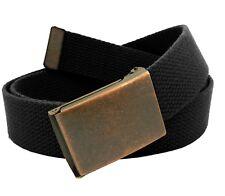 Men's Antique Copper Flip Top Belt Buckle with Canvas Web Belt