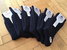 New Turkish Merino Wool Self Striped Thick Men Socks- Navy Blue- 6 Pairs Pack