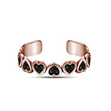 Black Round Cut Diamond Heart Shape Adjustable Toe Ring Gift For Womens