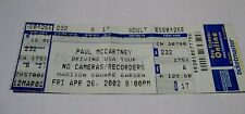 Paul McCartney / Concert Ticket / Madison Square Garden / Driving USA Tour 2002
