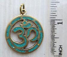 Nice! Old Tibet Tibetan Buddhist Silver & Turquoise Amulet Eternal Om