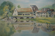 MARGARET COCHRANE - 'Mill Houses on the Moselle River' - Watercolor - Mid 20th C