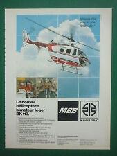 1984 PUB MBB KAWASAKI TWIN JET HELICOPTER BK 117 HAI 1984 HUBSCHRAUBER FRENCH AD