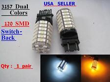 2 pcs 3157 120 SMD LED Switch Back Dual colors 80pcs Amber  40pcs White LED