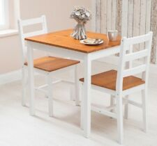 Solid Pine Wooden Dining Set Table and 2 Chairs Kitchen Dining Home Furniture