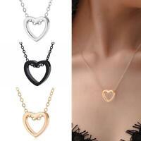 Frauen Mädchen Herz Charme Halsketten Anhänger Halsketten Edelstahl Schmuck