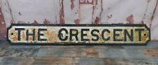 Antique Victorian Original Reclaimed Cast Iron Street Road Sign The Crescent