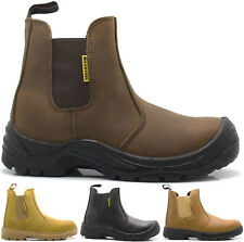 MENS LIGHTWEIGHT LEATHER DEALER SLIP ON STEEL SAFETY CHELSEA WORK BOOTS SHOES SZ