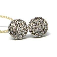 Boucles D'Oreilles or Blanc 750 18K, Diamants Carat 0.50, Bouton, Rond, Pavé