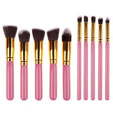 10Pcs Pro Make up Eyeshadow Blush Blending Set Cosmetic Concealer Lip Brushes js