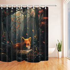Fox in Autumn Forest Shower Curtain Bathroom Waterproof Fabric & 12 Hooks 71*71""