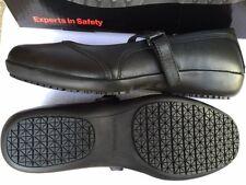 Arco Ocupational Mary Jane BLACK slip on leather safety shoes UK 7 new FREE POST
